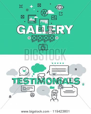 Set of modern vector illustration concepts of words gallery and testimonials