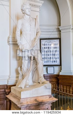 Austin, Tx/usa - Circa February 2016: Stephen Fuller Austin Statue Monument Inside Texas State Capit