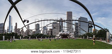 Chicago, Il/usa - Circa July 2015: People At Jay Pritzker Pavilion At Millennium Park In Chicago,  I
