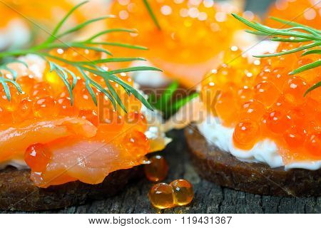 Appetizer With Salmon And Caviar