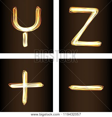 Fire show Style Set Of Letters Y, Z, Minus And Plus