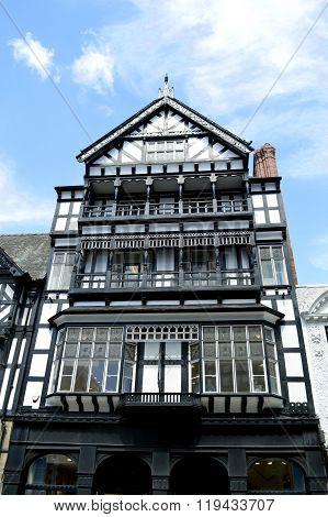 Tudor black and white timber frame house on Eastgate street, Chester