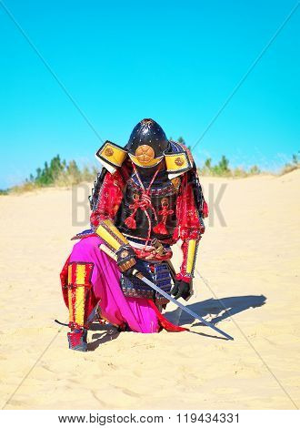 Man in samurai costume with sword. Samurai in ancient armor in a field with sword. Original Character.