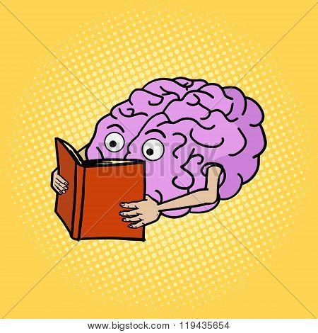 Brain reading pop art style vector illustration