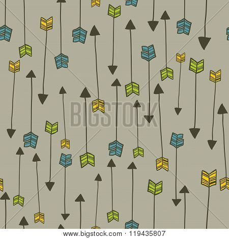 Vertical seamless patten with doodle arrows.