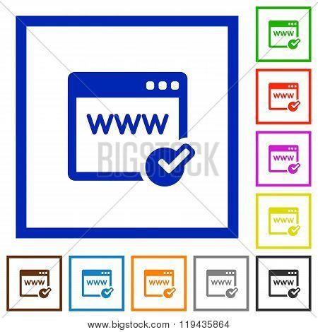 Domain Registration Framed Flat Icons