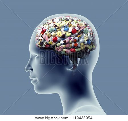 Xray Of Human Head With Pills And Drugs For Brain.