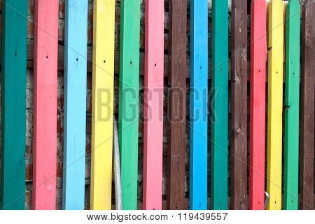 Fence Multicolored Wooden. Background