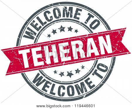 welcome to Teheran red round vintage stamp