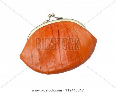 Vintage purse eel skin orange on a white background