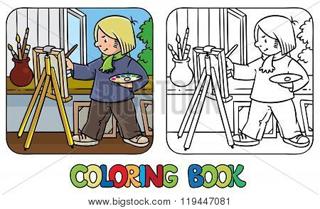 Coloring picture or coloring book of funny artist or painter with paintbrush and palette at the easel.  Profession series. Children vector illustration. poster