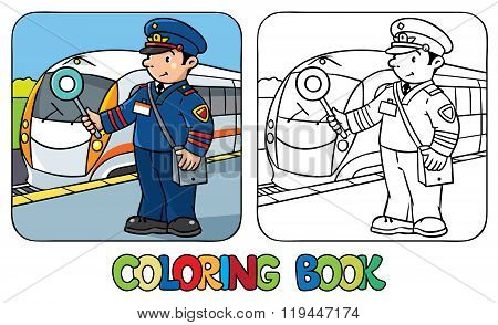 Funny railroader. Coloring book