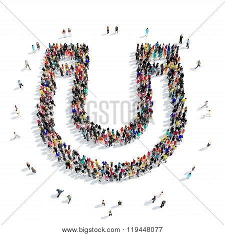 people  shape  horseshoe magnet