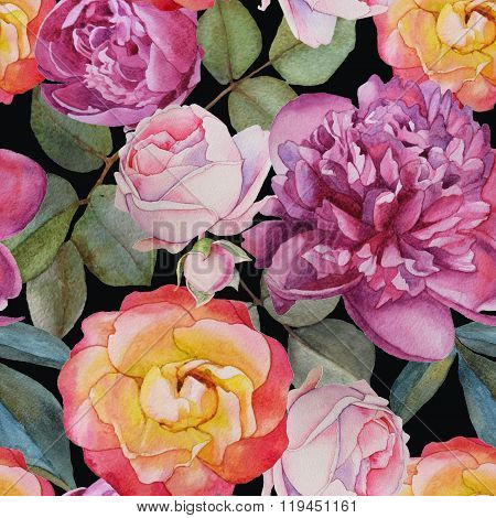 Floral seamless pattern with watercolor roses and peonies.
