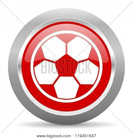 soccer red chrome web circle glossy icon
