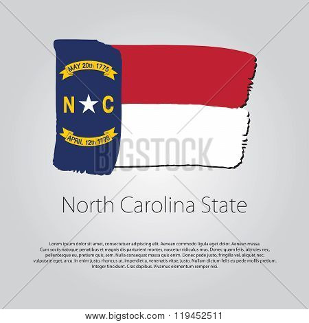 North Carolina State Flag With Colored Hand Drawn Lines In Vector Format