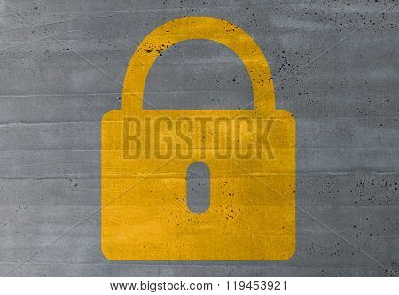 Lock Concept On Cement Texture Background