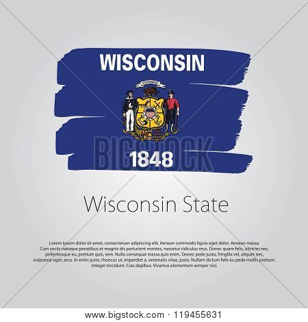 Wisconsin State Flag With Colored Hand Drawn Lines In Vector Format