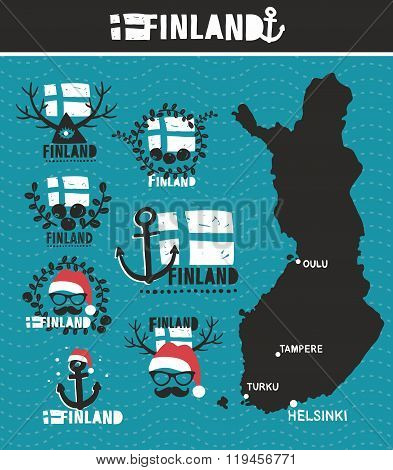 Finnish map and labels. Vector set of illustrations. poster