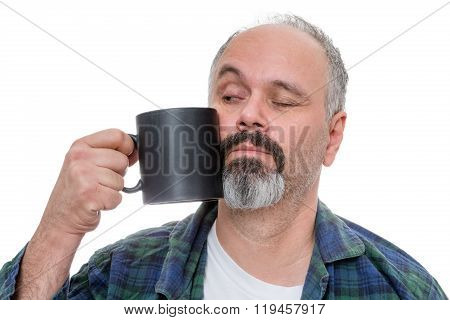 Waking Man Struggling To Drink Coffee
