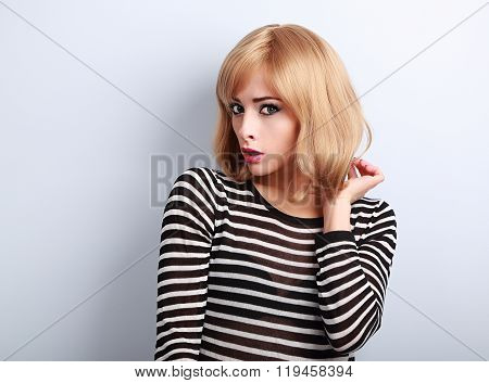 Unhappy Surprising Blond Woman With Short Hairstyle Looking With Open Mouth