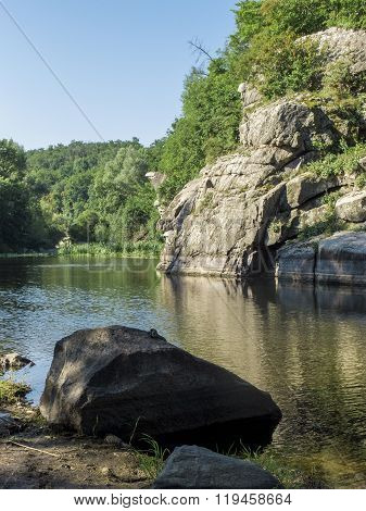 Buky Canyon In The Cherkassy Region, Ukraine. River Mountain Tikich.