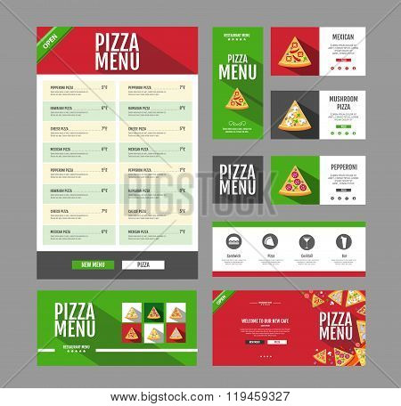Flat Style Pizza Menu Design. Document Template. Corporate Identity.