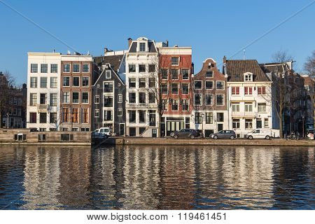 Buildings Along Staalkade Street And The Amstel Canal
