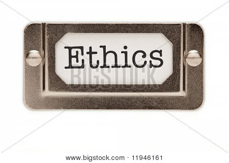 Ethics File Drawer Label Isolated on a White Background.