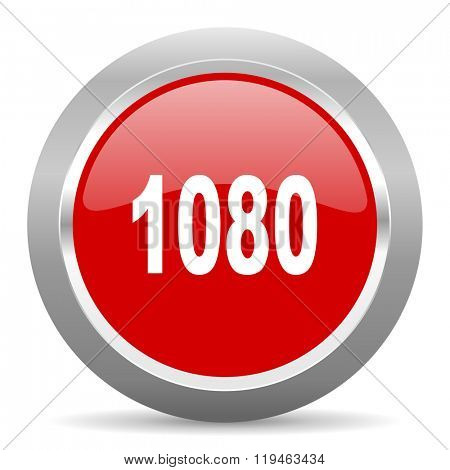 1080 red chrome web circle glossy icon