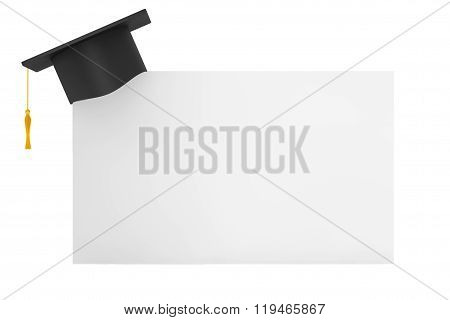 Graduation Academic Cap With Blank Paper