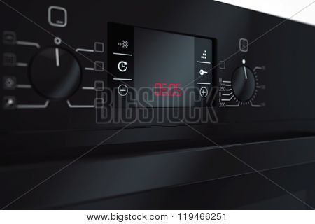Modern Black Electric Oven. 3D Rendering