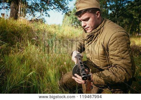 Unidentified re-enactor dressed as World War II Soviet russian s