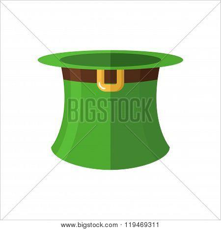 Leprechaun Hat On  White Background. Green Old Hat Cylinder. Fantastic Character Headpiece. Illustra