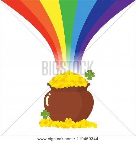 Pot Of Gold And Rainbow. Magical Leprechaun Treasure. Clover And Gold Coins. Illustration Of   Feast