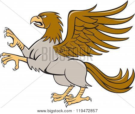 Hippogriff Prancing Side Isolated Cartoon