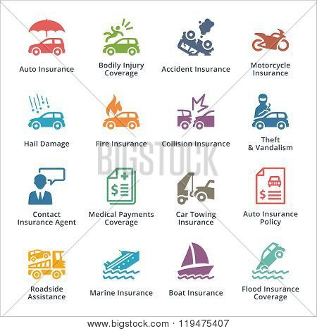 Auto Insurance Icons - Colored Series