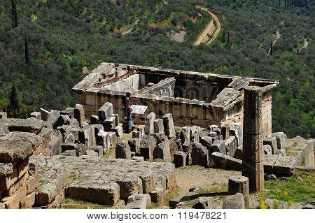 Roof Of Treasury Of Athenians Delphi