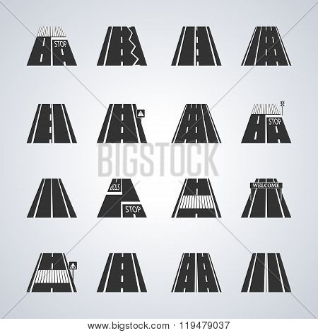 Icons Of The Road, Vector Illustration.
