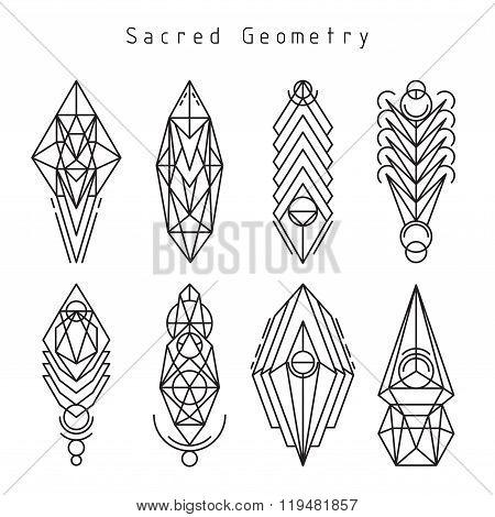 Vector linear sacred emblems