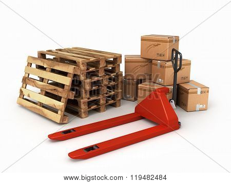 Pedestrian Stacker For Pallets And Pallets With Boxes Lying Next To It Are Isolated On A White