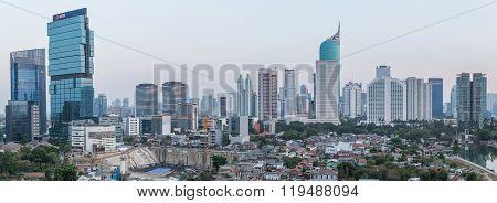 Jakarta, Indonesia - Circa October 2015: Panorama Of Jakarta Skyscrapers At  Sunset