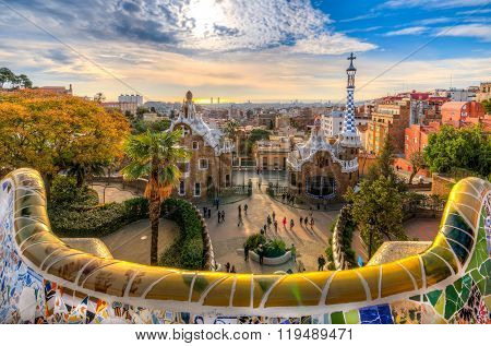 BARCELONA - 18 FEBRUARY 2016: The Park Güell is a public park system established in 1914 and composed of gardens and architectonic elements. February 18, 2016 in Barcelona, Catalonia (Spain).