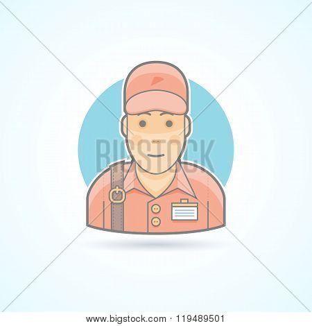 Pizzaman, Delivery Guy, Courier Icon. Avatar And Person Illustration. Flat Colored Outlined Style.