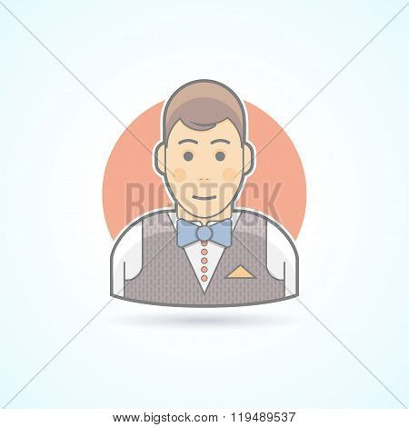 Waiter, Steward, Garcon Icon. Avatar And Person Illustration. Flat Colored Outlined Style.