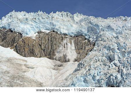 Ice Fall On An Alpine Glacier