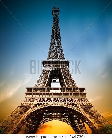 Wonderful view of Eiffel Tower in Paris