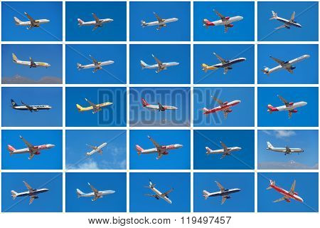 TENERIFE SPAIN - CIRCA 2016: Set of different airplanes from different airlines such as Ryanair Iberia British Airways Jet 2 Tuy taking off or landing in Tenerife airport Spain.