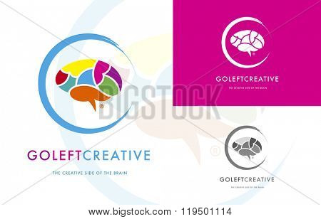 PREMIUM LOGO DESIGN OF A COLORFUL BRAIN SYMBOLIZING CREATIVENESS