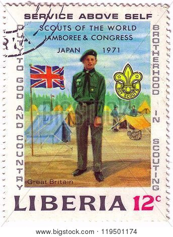 Liberia - Circa 1971: A Stamp Printed In Liberia Shows Scouts Of The World Jamboree & Congress, Japa
